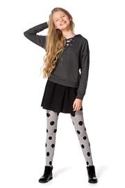 Dievčenské bavlnené pančuchy Febe sivé