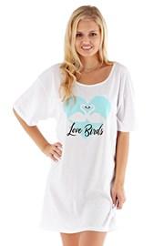Dámska nočná košeľa Love Birds biela