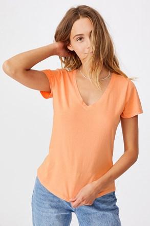 One női rövid ujjú basic póló, apricot