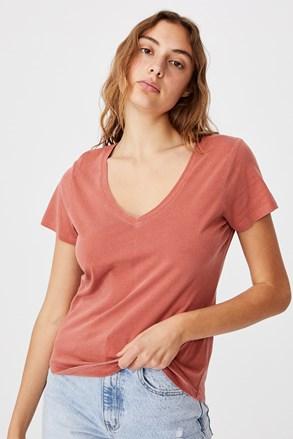 Dámske basic tričko s krátkym rukávom One tehlové
