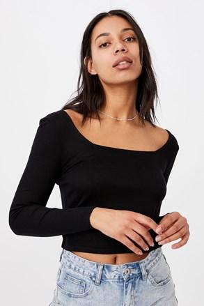 Dámske basic tričko s dlhým rukávom Serena čierne