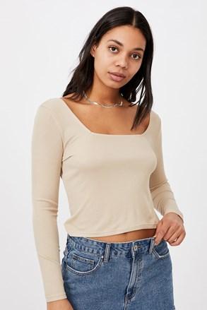 Dámske basic tričko s dlhým rukávom Serena béžové