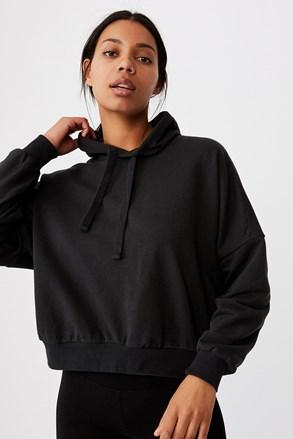 Favourite Oversized fekete női szabadidő felső, kapucnival