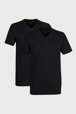 2 pack pánskych tričiek bugatti V-neck čierne
