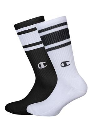 2 pack vysokých čierno-bielych ponožiek Champion