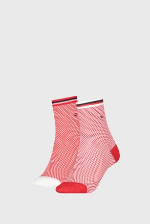 2 PÁR Tommy Hilfiger Honeycomb Red női zokni