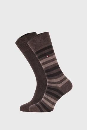 2 PÁR bézs-barna zokni Tommy Hilfiger Duo Stripe