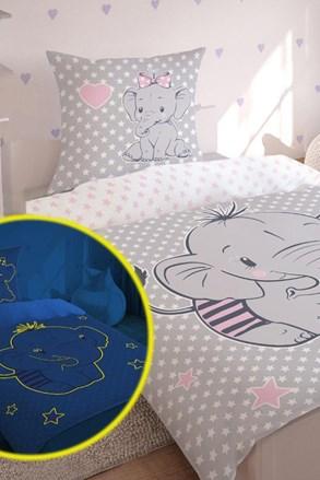 Sötétben világító gyermek ágyneműhuzat Kis elefánt
