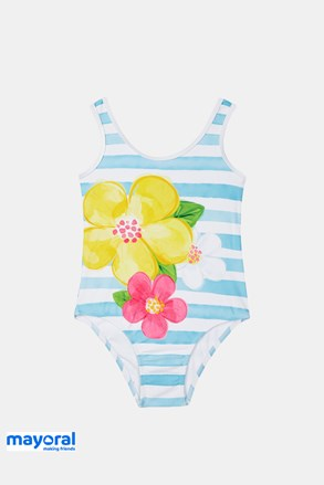 Dievčenské jednodielne plavky Mayoral modro-biele