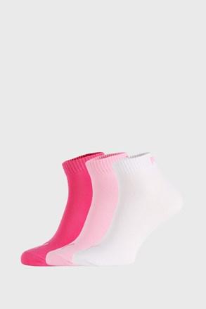 3 PÁR Puma Quarter Plain rózsaszínű zokni