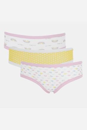 3 PACK dievčenských nohavičiek Basic Cotton Rainbow