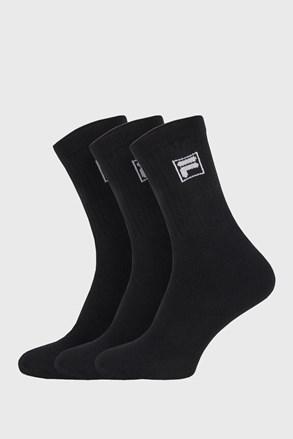 3-pack čiernych vysokých ponožiek s logom FILA