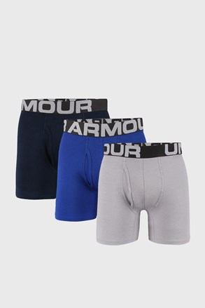 3 PACK modro-sivých boxeriek Under Armour Cotton