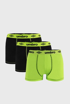 3 PACK čierno-zelených boxeriek Umbro BIO