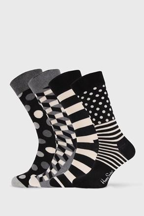 4 PÁR Happy Socks Black and White zokni