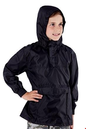 Detská bunda vo vrecku ProClimalite čierna nepremokavá