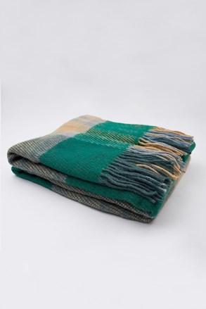 Luxusná deka z Novozélandskej vlny modro-zelená