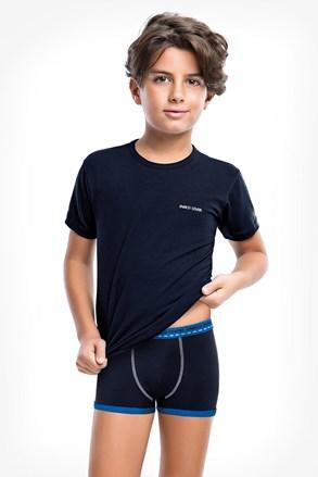 Modrý komplet chlapčenských boxeriek a trička