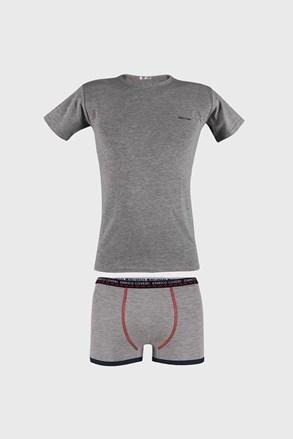 Sivý komplet chlapčenských boxeriek a trička