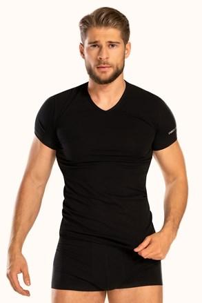 V neck férfi póló, fekete