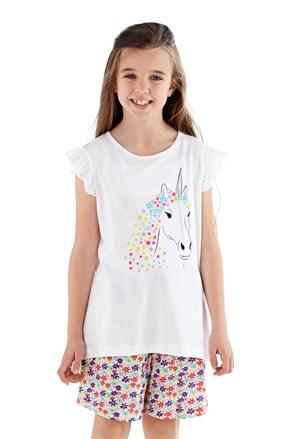 Dievčenské pyžamo krátke biele