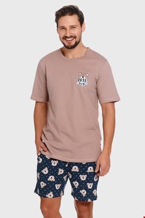 Bézs-kék férfi pizsama Bear