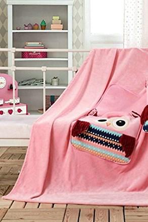 Detský vankúšik a deka v 1 Sova ružová