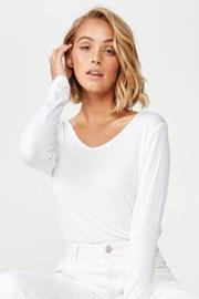 Dámske basic tričko s dlhým rukávom Karly biele