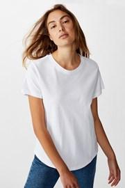 Dámske basic tričko s krátkym rukávom Crew biele