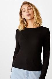 Dámske basic tričko s dlhým rukávom Turn čierne