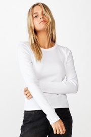Dámske basic tričko s dlhým rukávom Turn biele