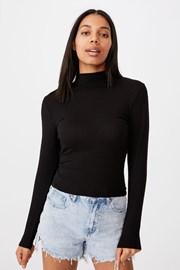 Dámske basic tričko s rolákom Mila čierne