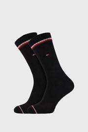 2 PACK čiernych vysokých ponožiek Tommy Hilfiger Iconic