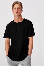 Čierne tričko Henley