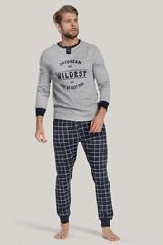 Pánske pyžamo sivo-modré s nápisom