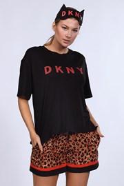 Set pyžamo a maska na spanie DKNY Brown Animal