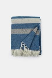 Stripe luxus gyapjú pléd, kék