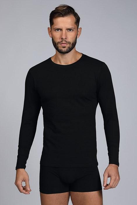 Čierne tričko s dlhými rukávmi Cotton Nature