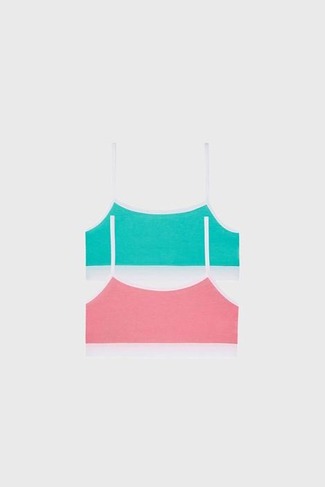 2 DB basic lányka top, zöld-rózsaszín