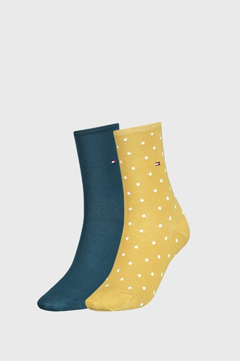 2 PACK žltých dámskych ponožiek Tommy Hilfiger Dot