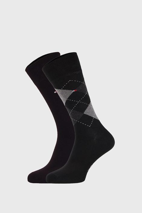 2 PACK čiernych ponožiek Tommy Hilfiger Check