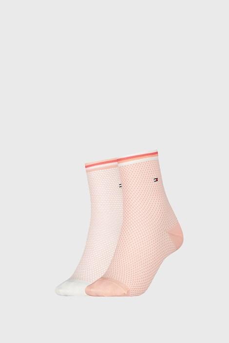 2 PACK dámskych ponožiek Tommy Hilfiger Honeycomb Coral