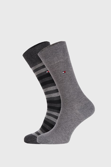 2 PACK sivých ponožiek Tommy Hilfiger Duo stripe