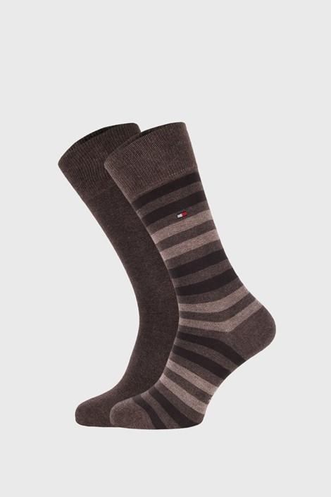 2 PACK béžovo-hnedých ponožiek Tommy Hilfiger Duo Stripe