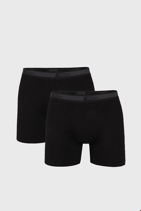 2 PACK čiernych boxeriek s dlhšou nohavičkou UOMO