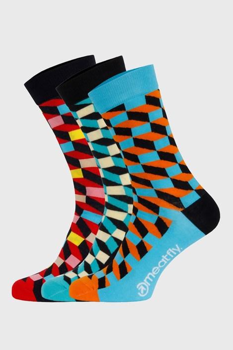 3 PACK farebných ponožiek Meatfly Checkers