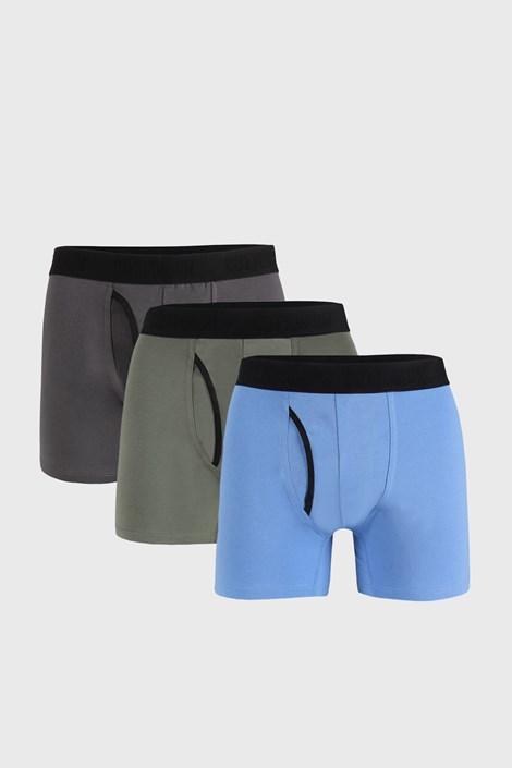 3 PACK modro-sivých boxeriek Organic Cotton