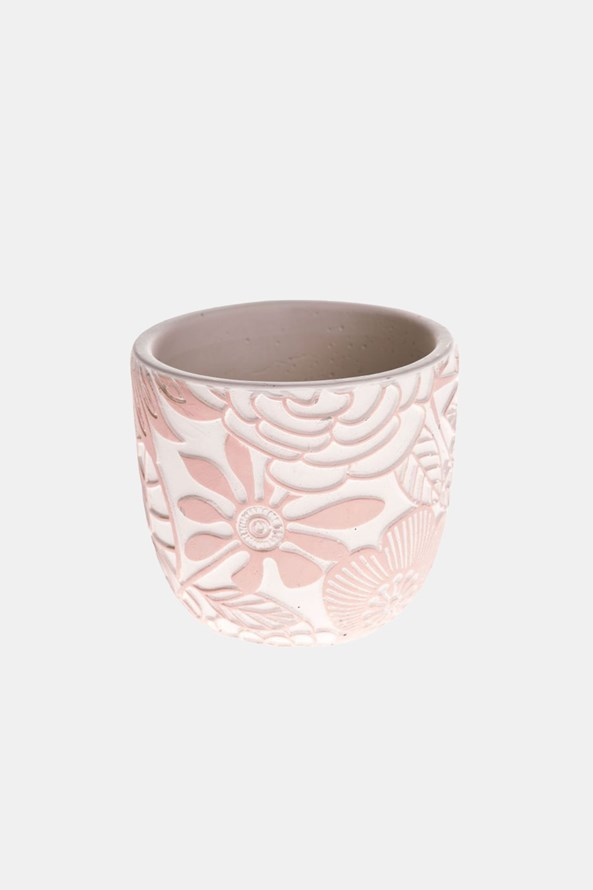 Betónový kvetináč ružový