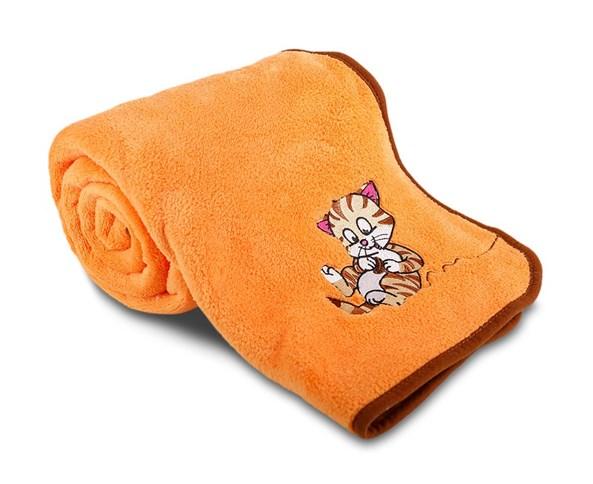 Detská deka s výšivkou oranžová