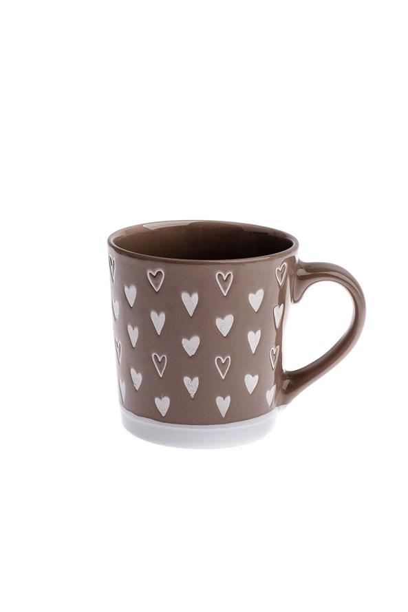 Keramický hrnček Srdce hnedý 450 ml
